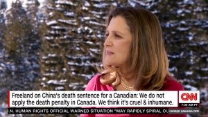 Freeland calls international support from allies 'encouraging' over detained Canadians in China